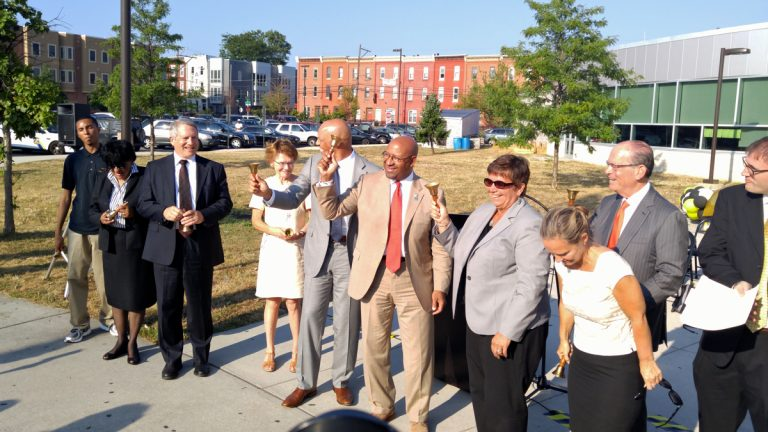 Philadelphia schools Superintendent William Hite and others, including Mayor Michael Nutter welcome students to their first day of classes at the George Washington Carver School. (Tom MacDonald/WHYY)