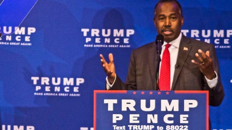 Former GOP presidential candidate Ben Carson appears in King of Prussia