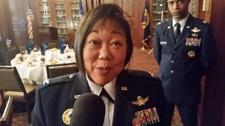 Col. Carolyn Benyshek discusses the opportunities the Air Force offers. (Tom MacDonald/WHYY)