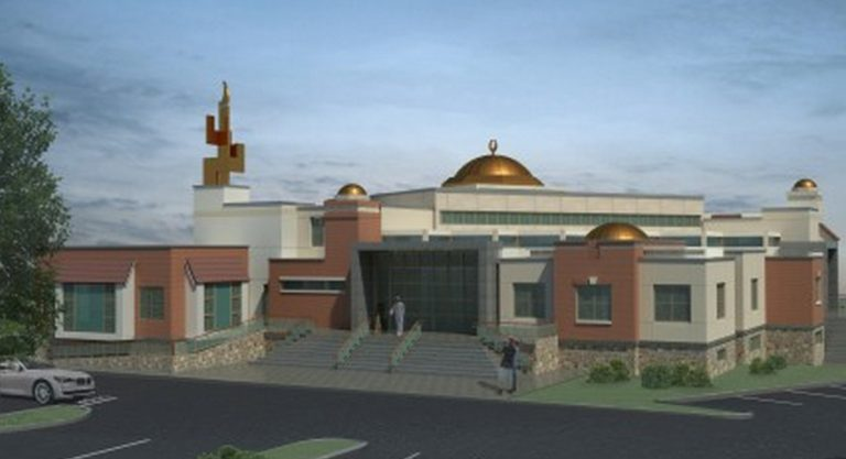 An architectural rendering of a mosque proposed for construction in Bensalem