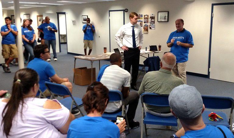 Democrat David Bentz celebrated his election win with U.S. Sen. Chris Coons.