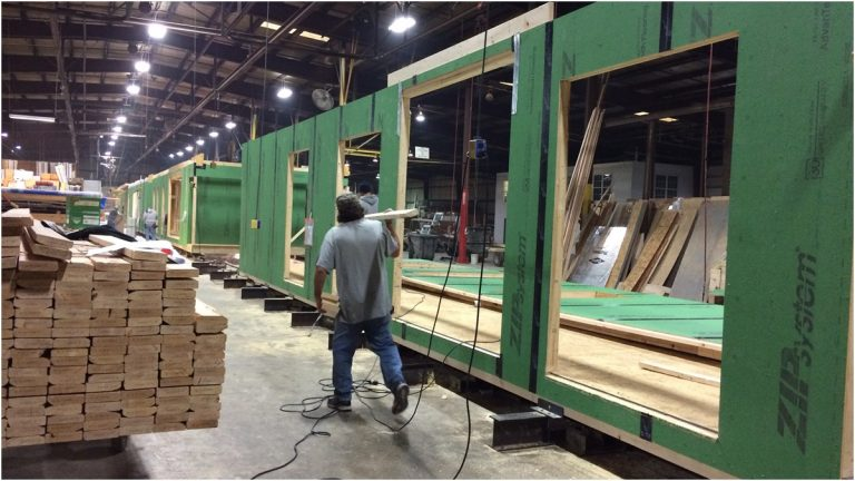 Homes being manufactured inside Beracah Homes' Greenwood, Del. plant (Shirley Min/WHYY)