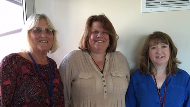 Joan Crater, Tracey York, and Mary Kay Bernosky of Berks Women in Crisis. (Mary Wilson/WHYY)