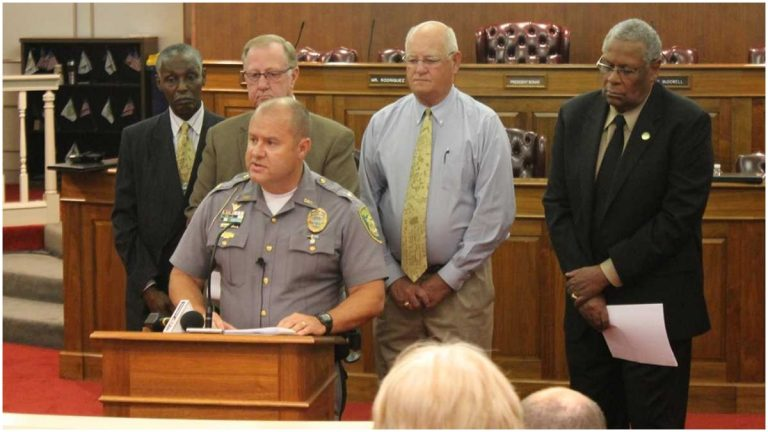 Dover Police Chief Paul Bernat speaks at a 2014 press conference. (File/WHYY)