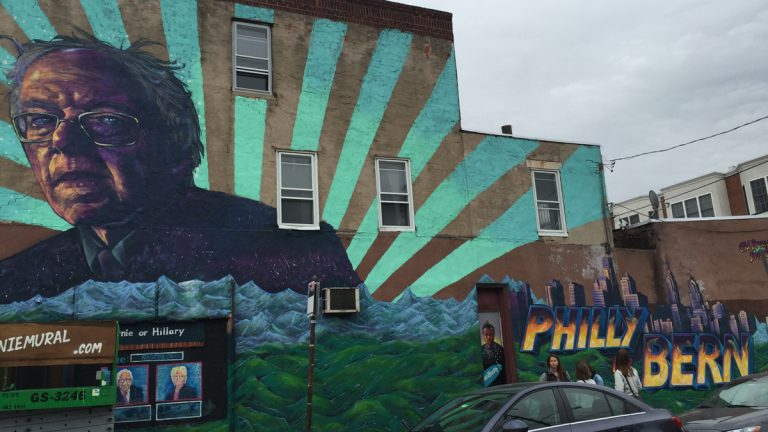 A mural dedicated to Democratic presidential candidate Bernie Sanders is shown at 22nd and Catherlne streets in Philadelphia. (Dick Polman for NewsWorks)