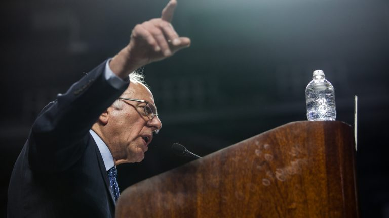 Democratic Candidate for President Bernie Sanders speaks to supporters inside Temple University's Liacouras Center Wednesday. (Brad Larrison/for NewsWorks)