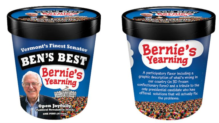 Ben and Jerry's founders will be handing out samples of Bernie's Yearning ice cream during a campaign event for Bernie Sanders in Wilmington. (photo via BerniesYearning.com)