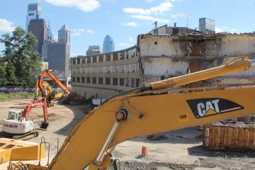 The former Best Western on 22nd Street is being demolished to make way for luxury apartments and a bigger Whole Foods Market. (Emma Lee/WHYY)