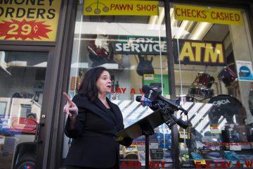 File photo: Beth Grossman announcing a run for DA in 2017. (Lindsay Lazarski/WHYY)
