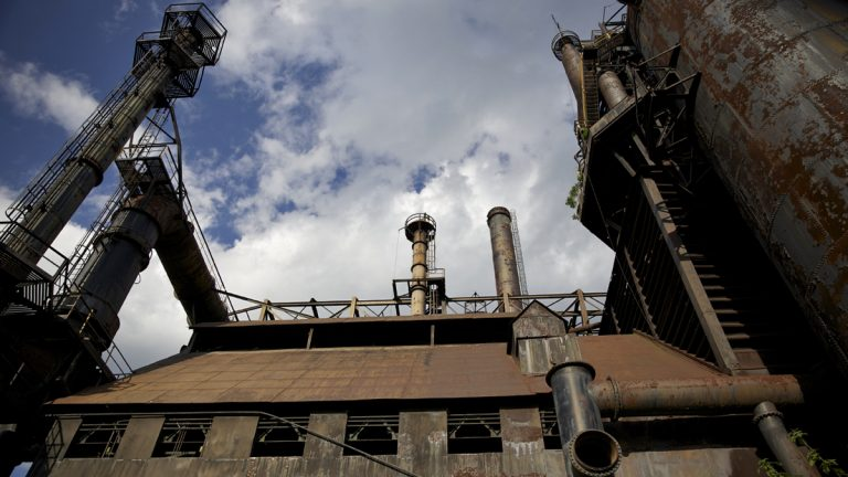 A section of the five surviving blast furnaces of the former Bethlehem Steel Co. (Lindsay Lazarski/WHYY)