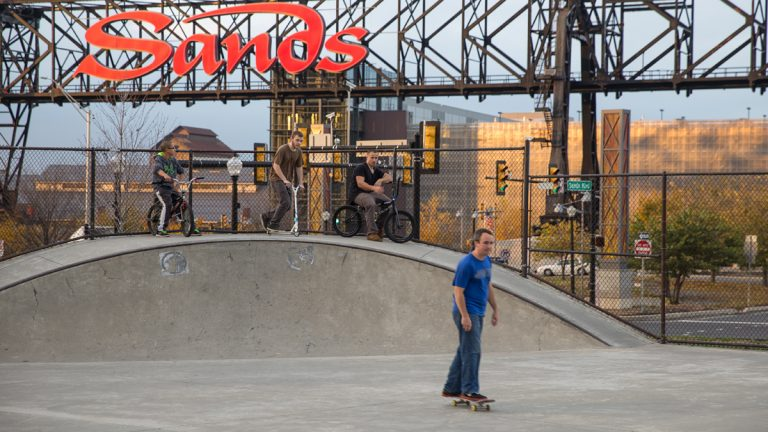 Patrons skate and bike at the Bethlehem Skateplaza across the street from the Sands Resort Casino.  (Lindsay Lazarski/WHYY)