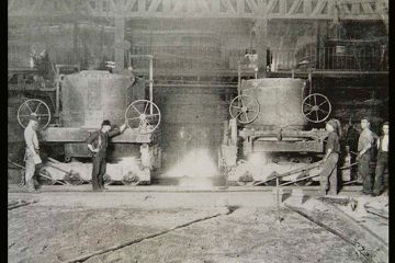 Workers keep a careful watch on the open hearth furnaces at the Bethlehem Steel Co. plant. (Image courtesy of the Historical Society of Pennsylvania)