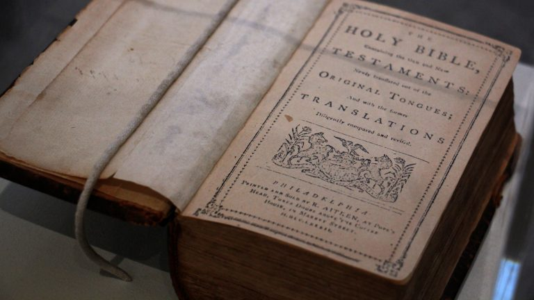 On display is the first English Bible printed in America