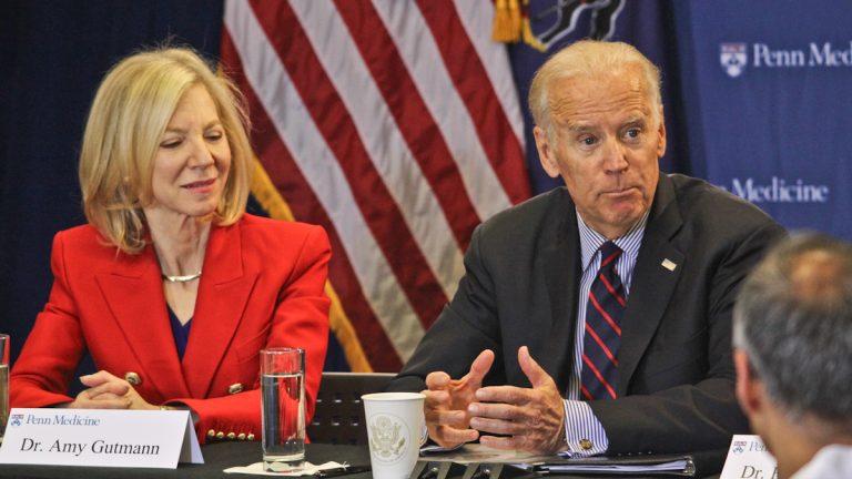 Vice President Joe Biden, seated next to University of Pennsylvania President Amy Gutmann, talks about the