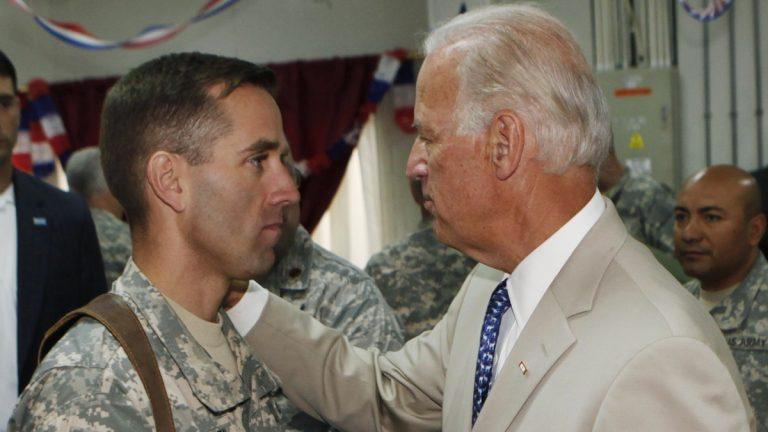 VP Joe Biden meets with AG Beau Biden in Iraq in 2009. (AP Photo/ Khalid Mohammed, Pool)