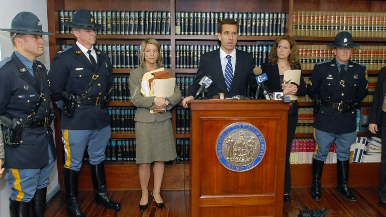 In this 2009 photo, then-Delaware Attorney General Beau Biden at the Department of Justice in Georgetown, Del. to update the charges against Dr. Earl B. Bradley on Dec. 23, 2009. (AP Photo/Chuck Snyder)