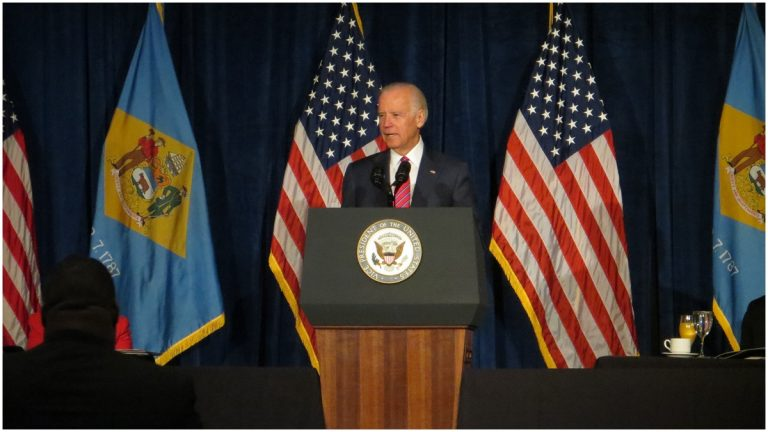 Vice President Biden speaks before the Wilmington MLK event at the Chase Center.(Nichelle Polston/WHYY)