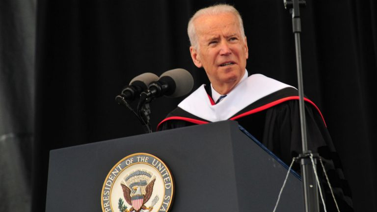Vice President Joe Biden speaks to Delaware State University graduates. (Photo courtesy of Delaware State University)