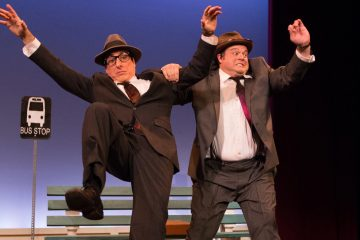 Dave Jadico (left) and Scott Greer in a sketch in which sound effects are the only dialogue, in 1812 Productions' 'The Big Time: New Vaudeville for the Holidays.' (Photo courtesy of Mark Garvin)
