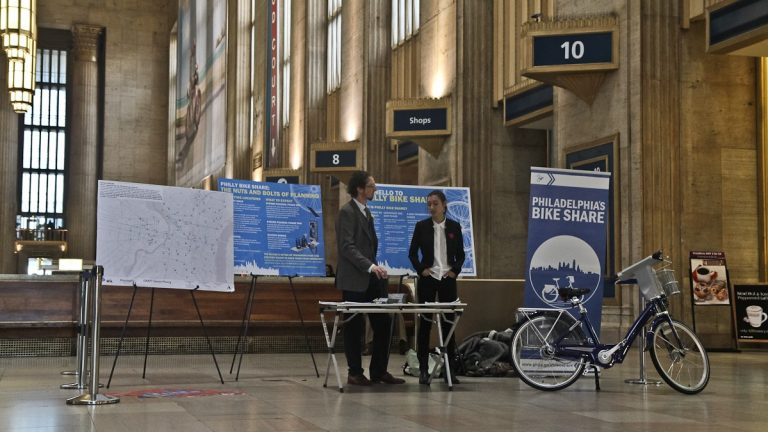 Philadelphia's bike share provides infromation at 30th Street Station. (Kimberly Paynter/for NewsWorks)