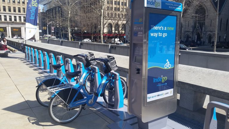 This bike-share station is set up across from Philadelphia City Hall. (Tom MacDonald/WHYY)