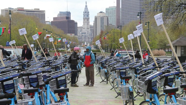 Philadelphia launched its bike share program, Indego, with 300 bicycles at 60 stations around the city. Mayor Nutter said the city plans to increase to 2,000 bikes at 180 docking stations. (Emma Lee/WHYY)