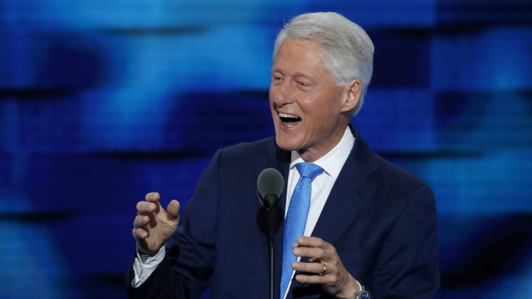 Former President Bill Clinton speaks during the second day of the Democratic National Convention in Philadelphia on Tuesday