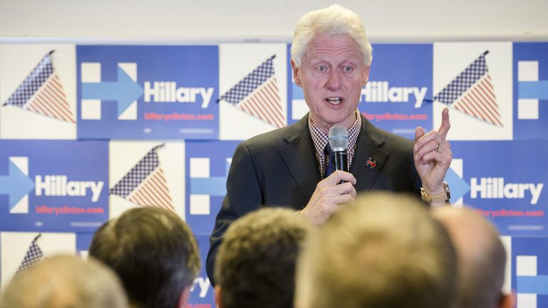 Former President Bill Clinton is shown campaigning for Democratic presidential candidate Hillary Clinton at the Ohio Education Association on Wednesday