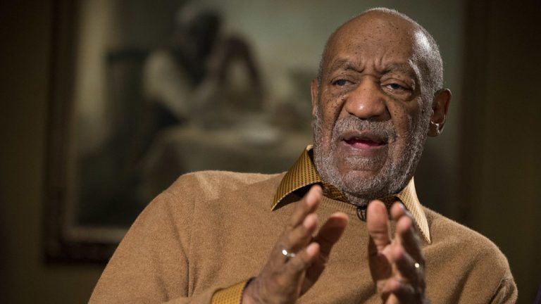 In this Nov. 6, 2014 file photo, entertainer Bill Cosby gestures during an interview about the upcoming exhibit, Conversations: African and African-American Artworks in Dialogue, at the Smithsonian's National Museum of African Art, in Washington. (AP Photo/Evan Vucci)