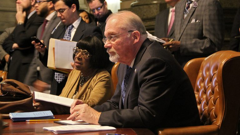 Councilman Bill Greenlee says his bill allows for revoking the business licenses of those who don't pay their workers all they are owed. (Emma Lee/WHYY)
