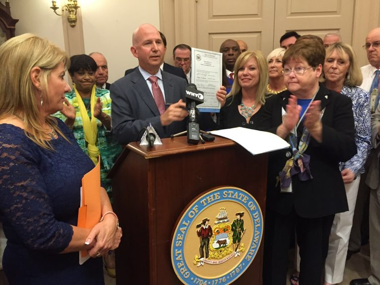 Delaware took steps to advance women's rights Tuesday when Gov. Jack Markell signed six pieces of legislation aimed at economic, health and legal equality. (Newsworks/Zoe Read)