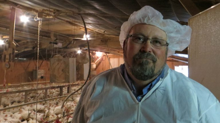 University of Delaware Agricultural Extension Agent Bill Brown says asking farm visitors to wear protective personal equipment is part of Delmarva's biosecurity plan to protect the poultry industry from highly pathogenic avian influenza. (Taunya English/WHYY)