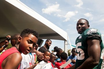 Eagles Running Back LeSean McCoy quizzed the Bantams on some of his background including where he went to college. (Brad Larrison/for NewsWorks)