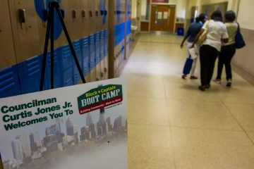 Beeber Middle School in Overbrook was opened up for Block Captain Bootcamp Saturday. (Brad Larrison/for NewsWorks)