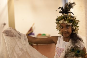 Fourth grader Marina Patterson portrayed Greek goddess Harrah. (Brad Larrison/for NewsWorks)