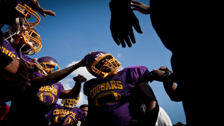 A scene from the first day of practice at MLK High School this week. (Brad Larrison/for NewsWorks)