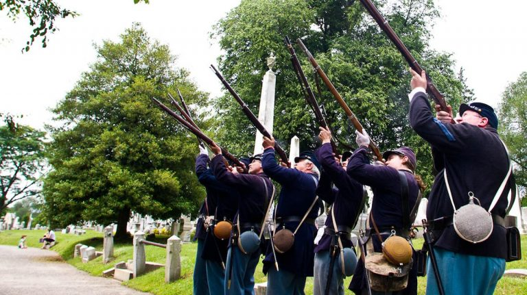 The 71st Pennsylvania Infantry Volunteers at Laurel Hill Cemetery on Memorial Day 2012. (Brad Larrison/for NewsWorks)