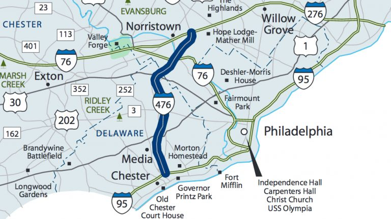 PennDOT has applied for a federal grant to open the shoulders of Interstate 476 — better known as the Blue Route — to traffic. (VisitPa.com)
