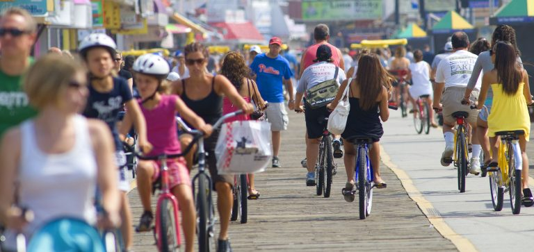 Visitors get out and about on the  boardwalk in Wildwood