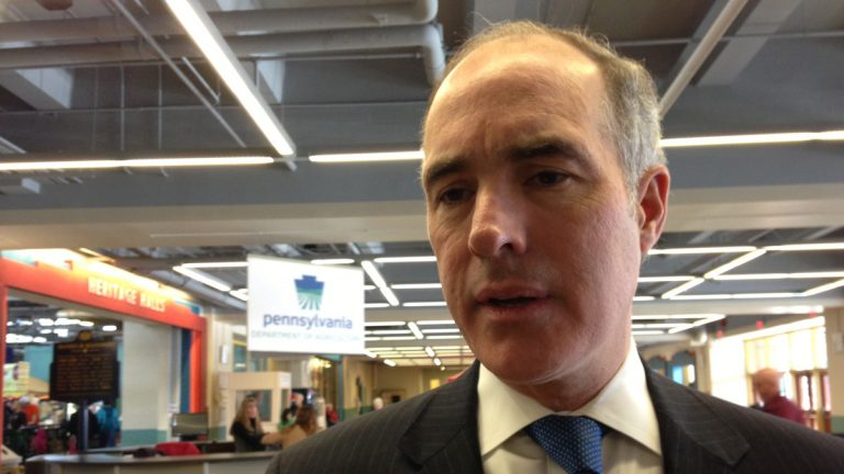 U.S. Sen. Bob Casey used his visit to the Pennsylvania Farm Show to rustle up interest in farm bill negotiations in Congress. (Mary Wilson/for NewsWorks)