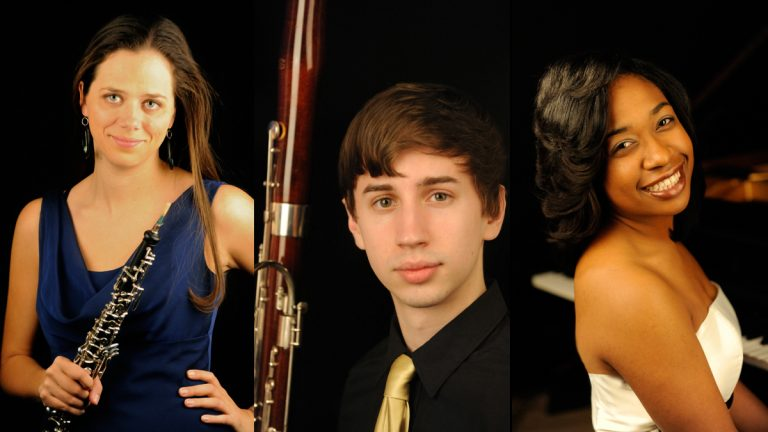 The BOK trio (from left) oboist Alexandra von der Embse, bassonist Wade Coufal and keyboardist Michelle Cann, will be the first Curtis graduates to participate in ArtistYear. (Photos provided by Pete Checchia)