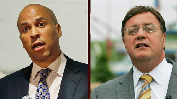 Candidates for U.S Senate in New Jersey Newark Mayor Cory Booker (left) and Republican Steve Lonegan (NewsWorks Photo)