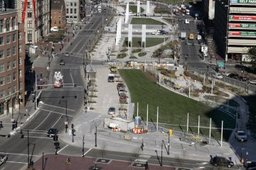 The Rose Fitzgerald Kennedy Greenway in Boston. It sits where the elevated Central Artery once snaked through downtown Boston.   (AP Photo/Elise Amendola)