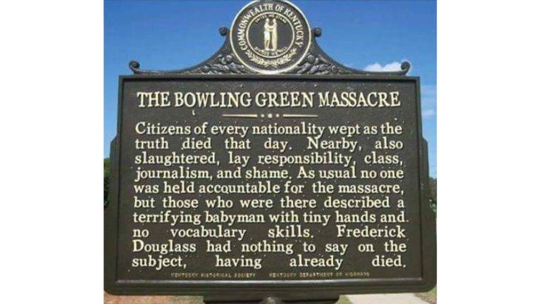 A social media meme imagines a fictional memorial marker for the 'Bowling Green Massacre