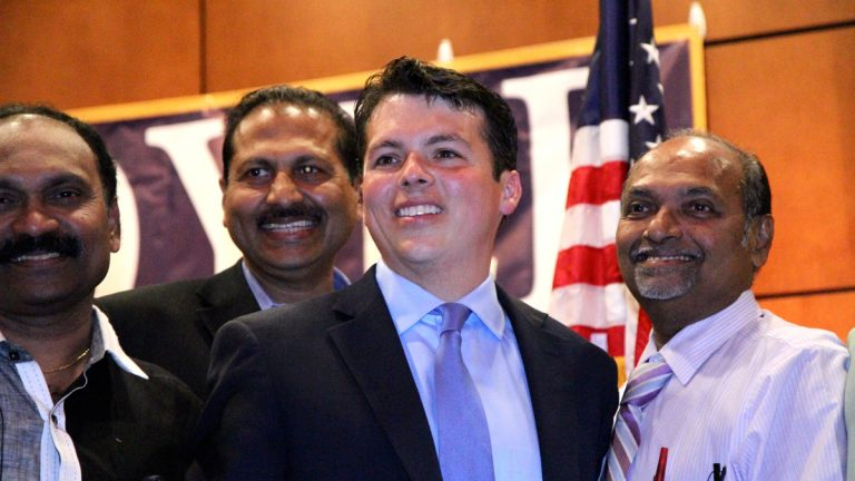 State Rep. Brendan Boyle thanks supporters winning the Democratic nomination to Pennsylvania's 13th Congressional District. (Kimberly Paynter/WHYY)