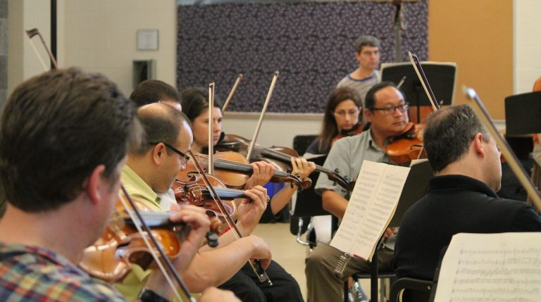 Side-by-Side musicians rehearse for Saturday's performance. (Courtesy of Black Pearl Chamber Orchestra)