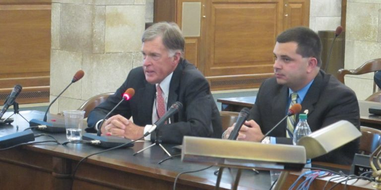 Tom Bracken, chairman of Forward New Jersey, and Anthony Antanasio, the executive director of the Utility and Transportation Contractors Association, urge lawmakers to replenish the Transportation Trust Fund. (Phil Gregory/for WHYY)