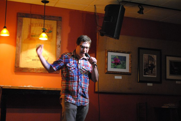 Bradley Beck talks about his experience with kidney stones during a recent stand-up performance at Burlap and Bean in Newtown Square, Pa. (Photo courtesy of Bradley Beck)
