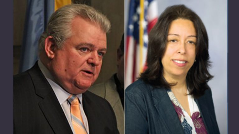 US Congressman Bob Brady on left (Emma Lee/WHYY) and State Rep. Leslie Acosta (image via pahouse.com)