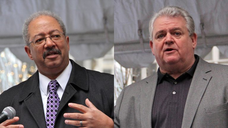 Democratic Party chair and U.S. Rep. Bob Brady (right) says he continues to support U.S. Rep. Chaka Fattah (D-Philadelphia). (NewsWorks file photos)